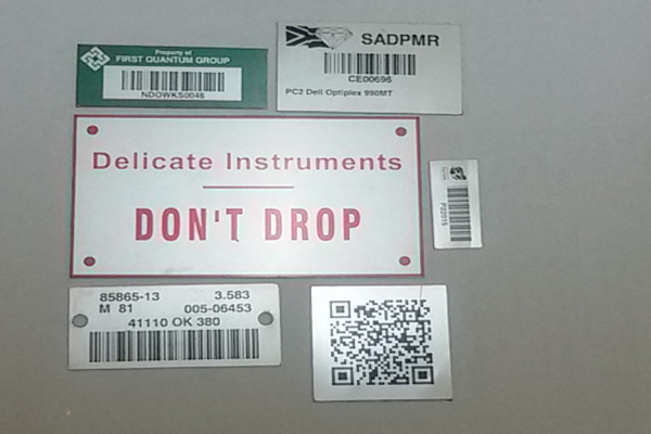 Aluminuin Barcodes for Assets Tracking
