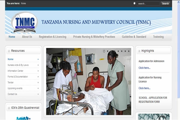 Tanzania Nursing and Midwifery Council (TNMC) Website