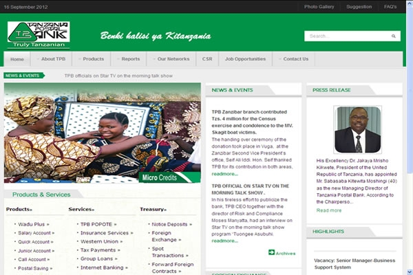 Tanzania Postal Bank Website